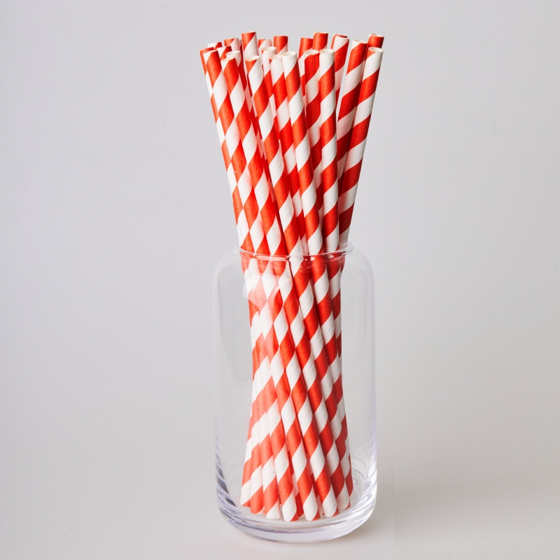 Соломинка паперова червона смужка (250/500шт.)