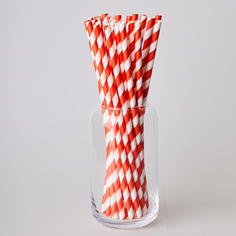 Трубочка бумажная красная полоска (250/500шт.)