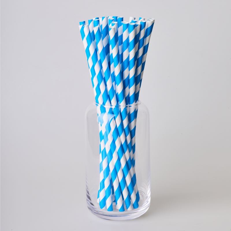 Трубочка бумажная синяя полоска (250/500шт.)