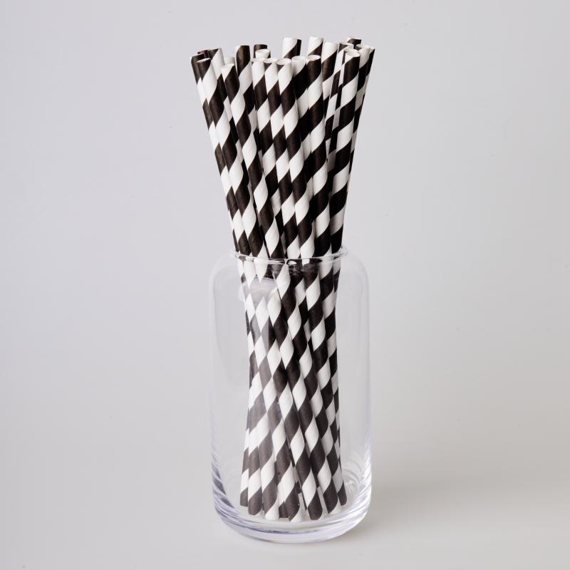 Трубочка бумажная черная полоска (250/500шт.)