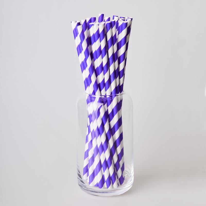 Трубочка бумажная фиолетовая полоска (250/500шт.)