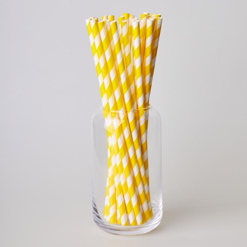 Соломинка паперова жовта смужка (250/500шт.)
