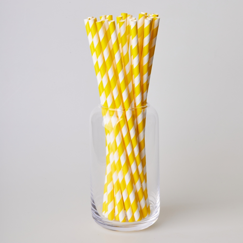Трубочка бумажная желтая полоска (250/500шт.)
