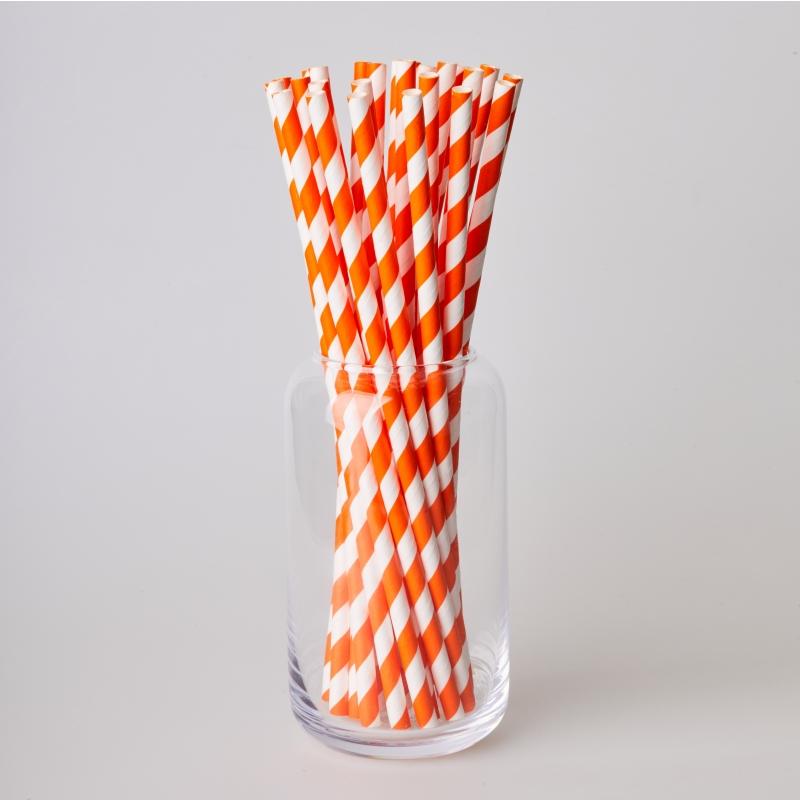 Соломинка паперова помаранчева смужка (250/500шт.)