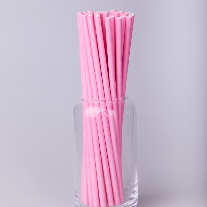 Трубочка бумажная розовая  (250/500шт.)