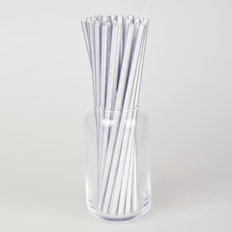 Соломинка паперова срібна  (250/500шт.)